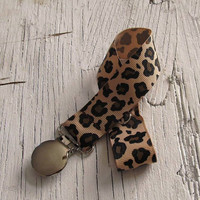 Baby Girls Pacifier Clip- Brown Cheetah Pacifier Holder- Baby- Toddler