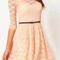 Whatwears Sexy Lady Lace 3/4 Sleeve One-piece Dress