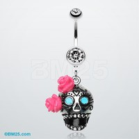 Bright Sugar Skull Rose Belly Ring