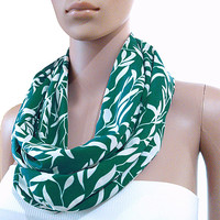 Green Infinity Scarf White Infinity Scarf - Ornamental Circle Loop Scarves - Long Shawl Scarf Tube Scarf Soft Cozy Fashion Scarf - Gift