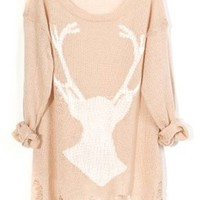 OASAP PULLOVER, DESTROYED DEER SEMI-SHEER SWEATER, APRICOT, ONE SIZE, OP37118