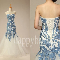 Elegant Long Mermaid Tulle Wedding Dresses Beautiful Appliques Party Dresses Prom Dresses Evening Dresses 2014 New Fashion