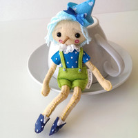 Pinocchio Felt Art Doll in Gift Box. Fabric Puppet Doll. Home Decor Nursery Room. Beautiful Handmade Birthday Gift. Blue and Green Toy.