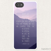 Bible Verse iPhone Case 1 Timothy 4:12 Cross Shape - Christian iPhone Case - Christian Bible Verse Phone Case SKU#1TM0040120-500004