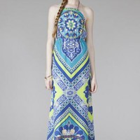 Blue and Yellow Patterned Maxi Halter Dress