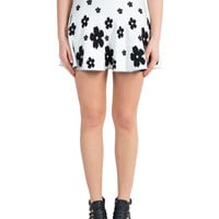 High Rise Daisy Skater Skirt - White