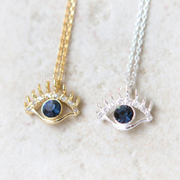 CZ Evil Eye Necklace / Choose your color / gold and silver