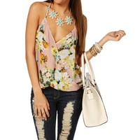 Blush Floral Surplice Top