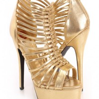 Gold Strappy Peep Toe Heels Faux Leather