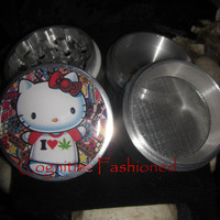 Colorful I Heart Weed Kitty HK 4 Piece Grinder Herb Spice Aircraft Grade Aluminum C.N.C from Cognitive Fashioned
