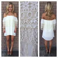 Ivory Breanne Eyelet Strapless Dress