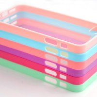 Wholesale 6pcs/lot 6 Colors Soft Trim High Clear Back Hard Cover Bumper Case Skin for iPhone 5 5G