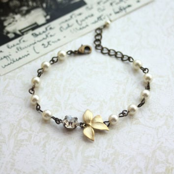Golden Orchid Flower Bracelet, Swarovski Ivory Pearl Adjustable Bracelet. Bridesmaids Bracelets. Bridesmaids Gifts. Maid Of Honor, For Wife
