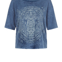 Blue Indian Elephant Marble Wash T-Shirt