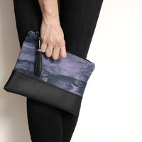 Black Violet Clutch, Hand Dyed Purse, Violet Shibori Purse, Tie Dye Clutch, Black Purple Bag, Purple Shibori Clutch, Cotton Canvas Clutch