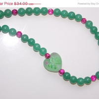 ON SALE Green Jade Heart Necklace