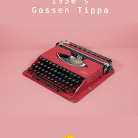 RESERVED /// Rare 1951 Gossen Tippa Typewriter. Restored & in fully working conditon. Red. German vintage typewriter. With Case.