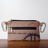 Vegan Belt bag brown linen printscreen bike bag cell phone covers Bicycle Bike