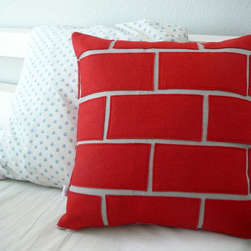Exposed Brick   Pillow Cover by OliveHandmade on Etsy