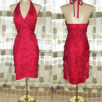 Vintage 90s RED Sexy Halter Bandage Cocktail Party Dress 8 Cache Sheer Mesh Illusion