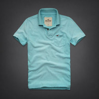 NWT Hollister Men's Polo Shirt North Jetty Sizes S M L XL Light Blue Retail $89!