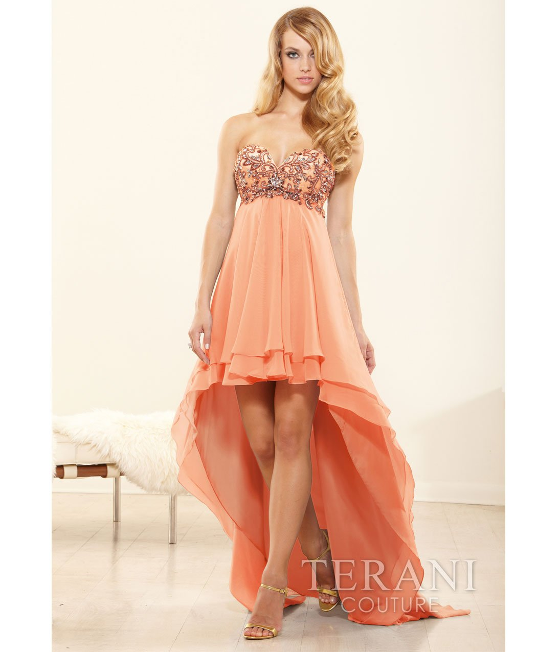 terani 2014 prom dresses peach chiffon from unique vintage