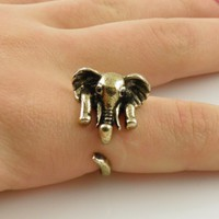 Gold Elephant Wrap Ring - SIZE 5