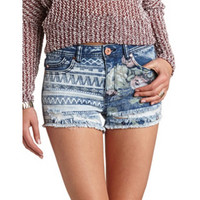 MIXED PRINT DISTRESSED DENIM SHORTS