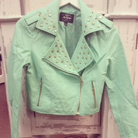 MINT STUD LEATHER JACKET