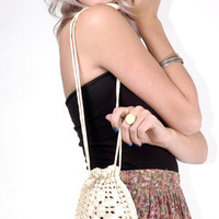 Vintage White Crochet Flapper Bag