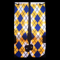 Argyle Pattern Yellow, Blue and white custom Nike Elite Socks