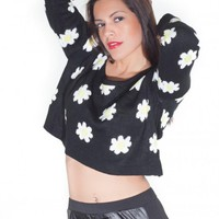 Black Daisy Crop Sweater