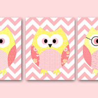 "kids decor Kids Wall Art Owl Decor Baby Girl Room Decor Baby Girl Nursery print Baby Girl Nursery Decor kids art set of 3 8""x10"" rose yellow"