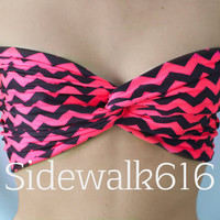 Coral and Black Chevron Spandex Bandeau Top