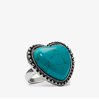 Heart Shaped Faux Turquoise Ring