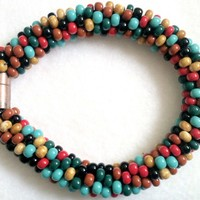 Multicolor Bead Crochet Bracelet