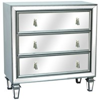 Hollywood Gunmetal Mirrored 3-Drawer Chest - #4N773 | LampsPlus.com