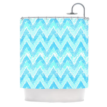 "Marianna Tankelevich ""Mint Snow Chevron"" Blue Chevron Shower Curtain"