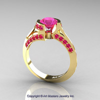 Modern French 14K Yellow Gold 1.0 Ct Pink Sapphire Engagement Ring Wedding Ring R376-14KYGPS