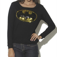 Batman Sequin Logo Sweatshirt - WetSeal