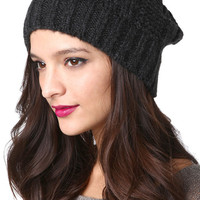 Cable Knit Hat in Charcoal