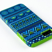 DandyCase 2in1 Hybrid High Impact Hard Blue Aztec Tribal Pattern + Lime Green Silicone Case Cover For Apple iPhone 5S & iPhone 5 (not 5C) + DandyCase Screen Cleaner