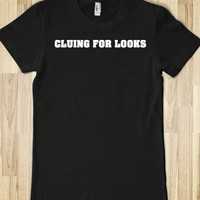 Funny Sherlock-inspired 'Cluing for Looks' White on Black T-Shirt