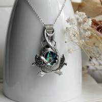 Affinity Ocean Aged Silver & Swarovski Necklace - Fantasy - Pisces - Gemini - Silver - Blue - Water - Bridal - Winter - Unique