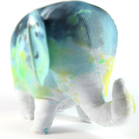 "The Original ""Splash Dyed"" Stuffed Elephant Plush Toy Animal in White Spectrum Starscape"