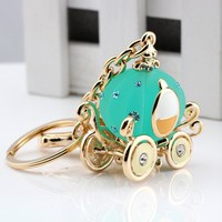 ISHOW Cute Pumpkin Cart Gold Plated Alloy and Glass Diamond Key Chain Bag Pendant