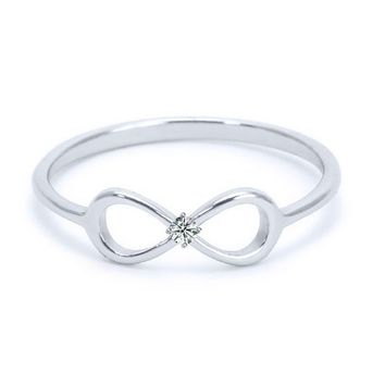 Heavy Casted 925 Sterling Silver Infinity Ring-Centered High Quality CZ Stone Available in Sizes 4-10