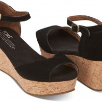 Black Suede Women's Platform Wedges