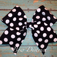"3"" Black and White Polka Dot Cheer Bow"