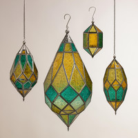 Cool Multicolor Sabita Embossed Glass Hanging Lanterns - World Market